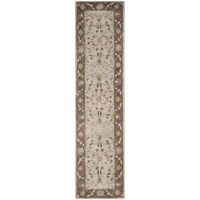 Dollman Hand-Hooked Ivory/Taupe Area Rug Rug Size: Runner 2'3
