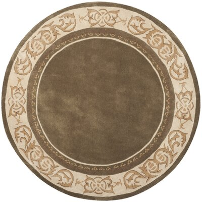 Duckett Hand-Hooked Olive/Ivory Area Rug Rug Size: Round 8 x 8