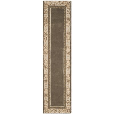 Duckett Hand-Hooked Olive/Ivory Area Rug Rug Size: Runner 2'3