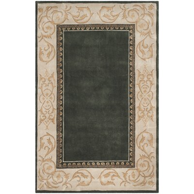Grange Hand-Hooked Slate/Ivory Area Rug Rug Size: Rectangle 6 x 9