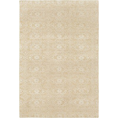 Eramana Hand Knotted Beige Area Rug Rug Size: 6 x 9