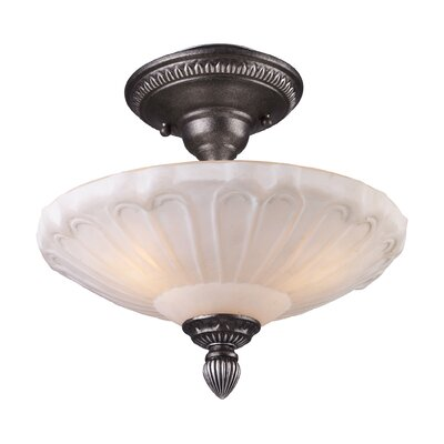 Antioch 12 3-Light Semi Flush Mount in Dark Silver