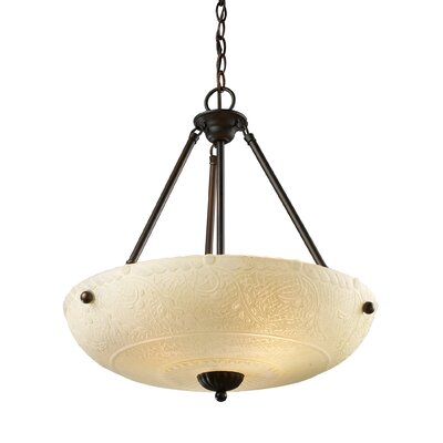Antioch 4-Light Inverted Pendant Shade Color: White Antique