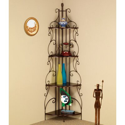 4 Tier Metal Corner Baker's Rack in Goldish Copper