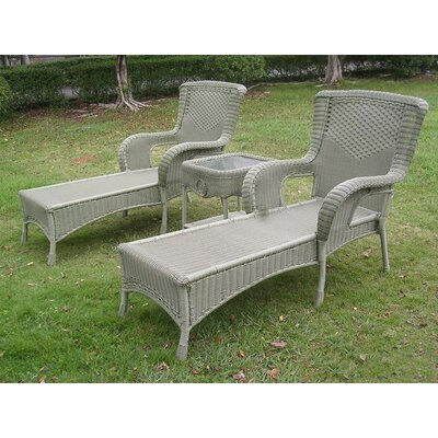 Yvette 3 Piece Chaise Lounge Set Finish: Antique Moss