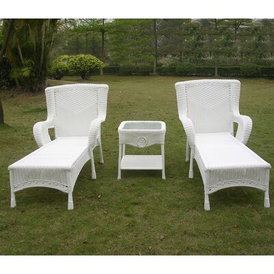 Yvette 3 Piece Chaise Lounge Set Finish: White
