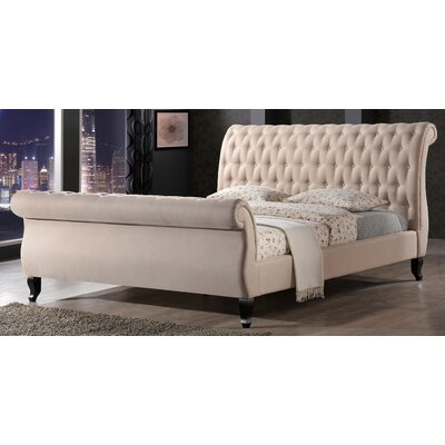 Edwyn Upholstered Sleigh Bed Size: King, Color: Sand