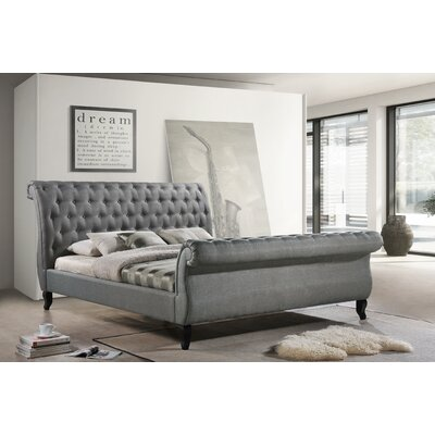 Edwyn Upholstered Sleigh Bed Size: King, Color: Gray