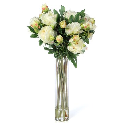 Peony with Cylinder Silk Floral Arrangements in White