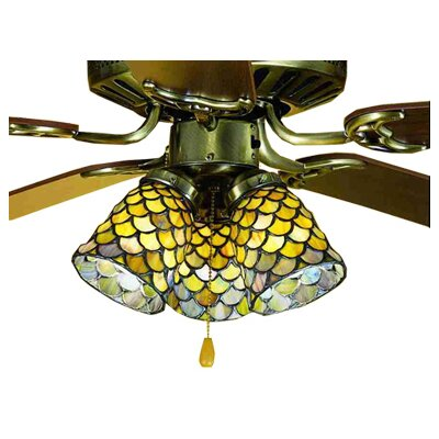 4 Glass Bowl Ceiling Fan Fitter Shade Finish: Honey Dripped Emerald, Sapphire and Garnet