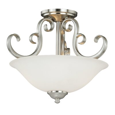 Auerbach 2-Light Semi-Flush Mount Finish: Satin Nickel
