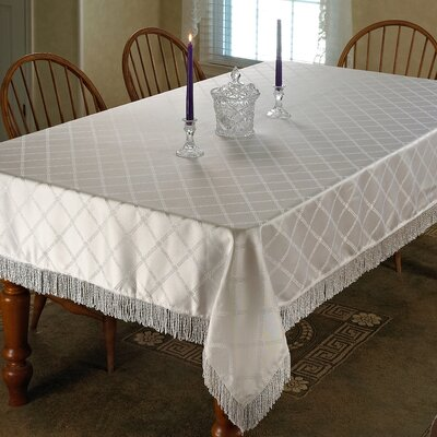 Cheever Damask Design Fringe Tablecloth Color: White, Size: 140