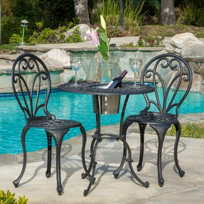 Charmaine 3 Piece Bistro Set With Ice Bucket