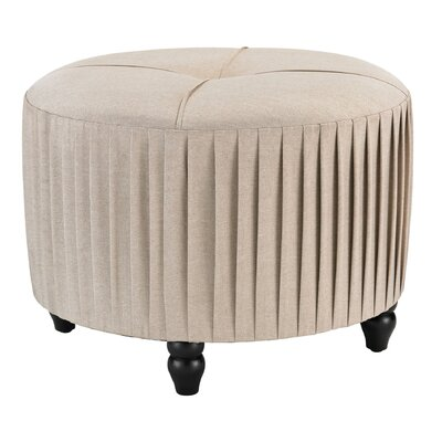 Natural Linen Pleated Ottoman