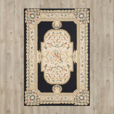 Duarte Hand-Hooked Navy/Ivory Area Rug Rug Size: 6' x 9'