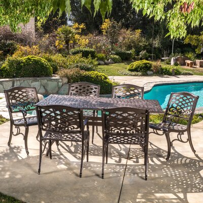 Burkhardt Cast Aluminum 7 Piece Outdoor Dining Set