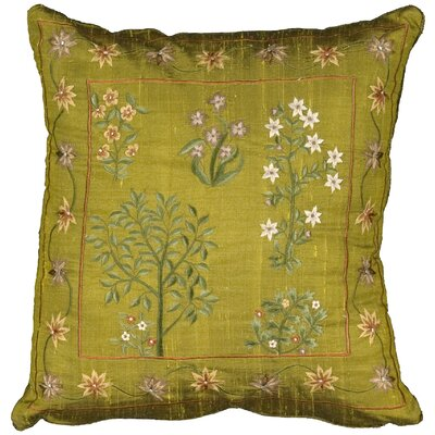 Delaney Oak Crest Embroidery Silk Throw Pillow