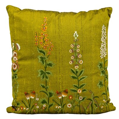 Orange Blossom Embroidery Silk Throw Pillow