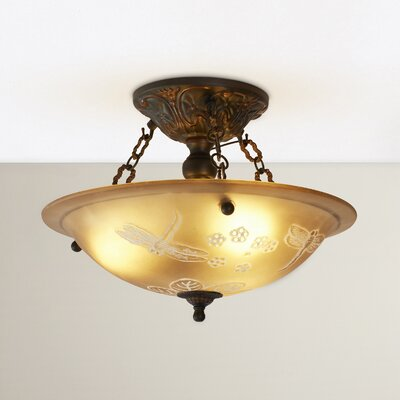Antioch 16 3-Light Semi Flush Mount in Gold