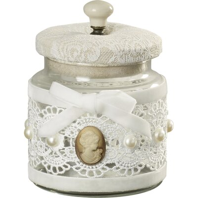 Vintage Lace Glass Decorative Box (Set of 2) Size: 5