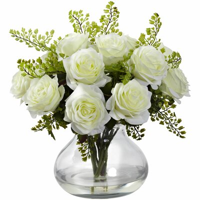 Rose and Maiden Hair Floral Arrangement with Vase Color: White