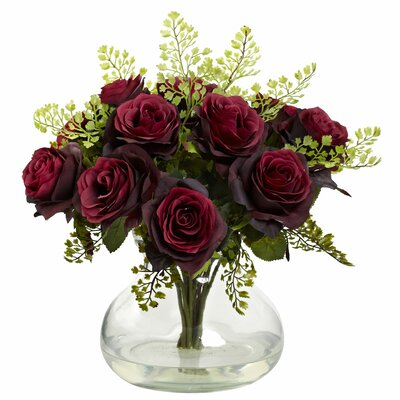 Rose and Maiden Hair Floral Arrangement with Vase Color: Burgundy