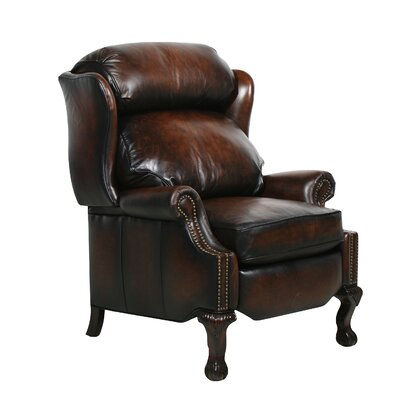 Merryman Leather Recliner Type: Manual, Upholstery: Steson Coffee