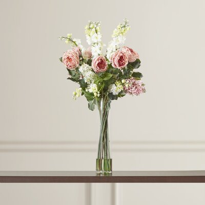 Rose, Delphinium and Lilac Silk Floral Arrangements in Pink