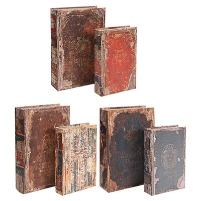 6-Piece Antique Book Box Set