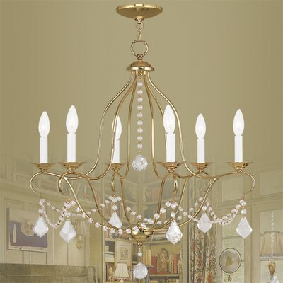Bayfront 6-Light Crystal Chandelier Finish: Polished Brass