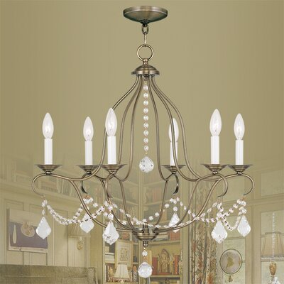 Bayfront 6-Light Crystal Chandelier Finish: Antique Brass