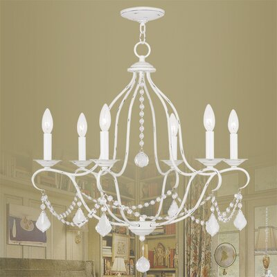 Bayfront 6-Light Crystal Chandelier Finish: Antique White