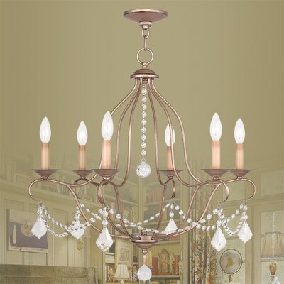 Bayfront 6-Light Crystal Chandelier Finish: Antique Silver Leaf