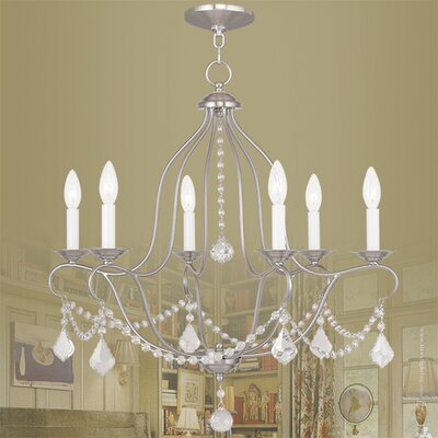 Bayfront 6-Light Crystal Chandelier Color: Brushed Nickel