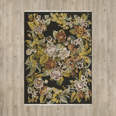 Chelsea Hand-Woven Wool Black Area Rug Rug Size: Rectangle 116 x 86