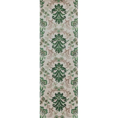 Arkwright Hand-Tufted Ivory/Green Area Rug Rug Size: Runner 26 x 8