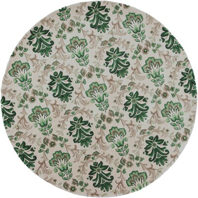Arkwright Hand-Tufted Ivory/Green Area Rug Rug Size: Round 76