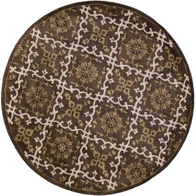 Breckler Hand-Tufted Mocha Area Rug Rug Size: Round 5'6