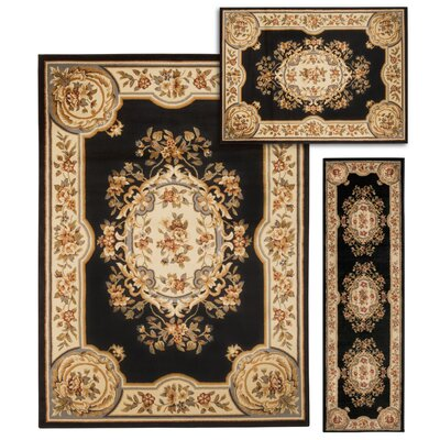 Lukeson 3 Piece Black/Beige Rug Set