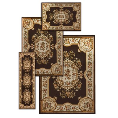 Lukeson 4 Piece Chocolate/Beige Rug Set