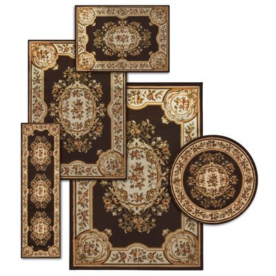 Lukeson 5 Piece Chocolate/Beige Rug Set