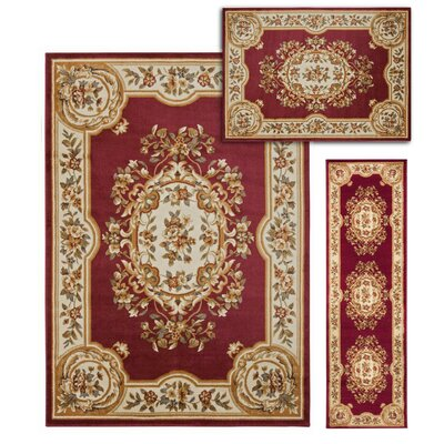 Lukeson 3 Piece Red/Beige Rug Set