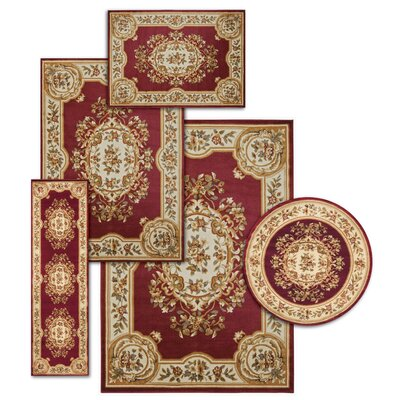 Lukeson 5 Piece Red/Beige Rug Set