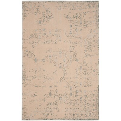 Roma Cream / Light Blue Area Rug Rug Size: 4 x 6