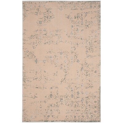 Roma Cream / Light Blue Area Rug Rug Size: 51 x 76