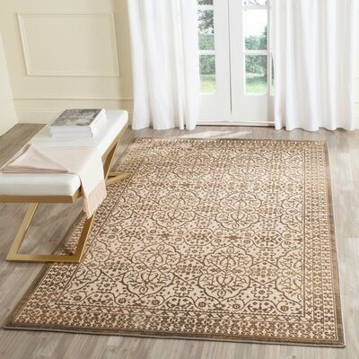 Roma Cream / Bronze Area Rug Rug Size: Rectangle 67 x 92