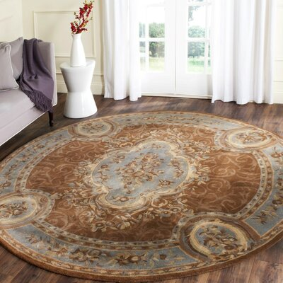 Sandusky Hand-Tufted Blue / Brown Area Rug Rug Size: Round 6