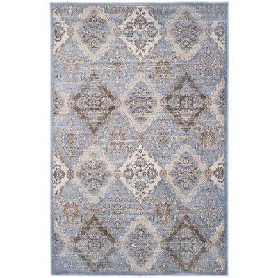 Barton Light Blue / Ivory Area Rug Rug Size: 51 x 77
