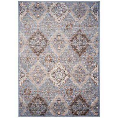 Barton Light Blue / Ivory Area Rug Rug Size: 67 x 92
