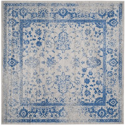 Sebring Gray/Blue Area Rug Rug Size: Square 4